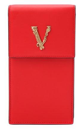 Мужского кожаный чехол virtus для iphone VERSACE красного цвета, арт. DP8H670V/DVT2 | Фото 1