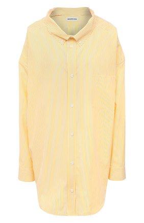 Женская хлопковая рубашка BALENCIAGA желтого цвета, арт. 622050/TYB19 | Фото 1