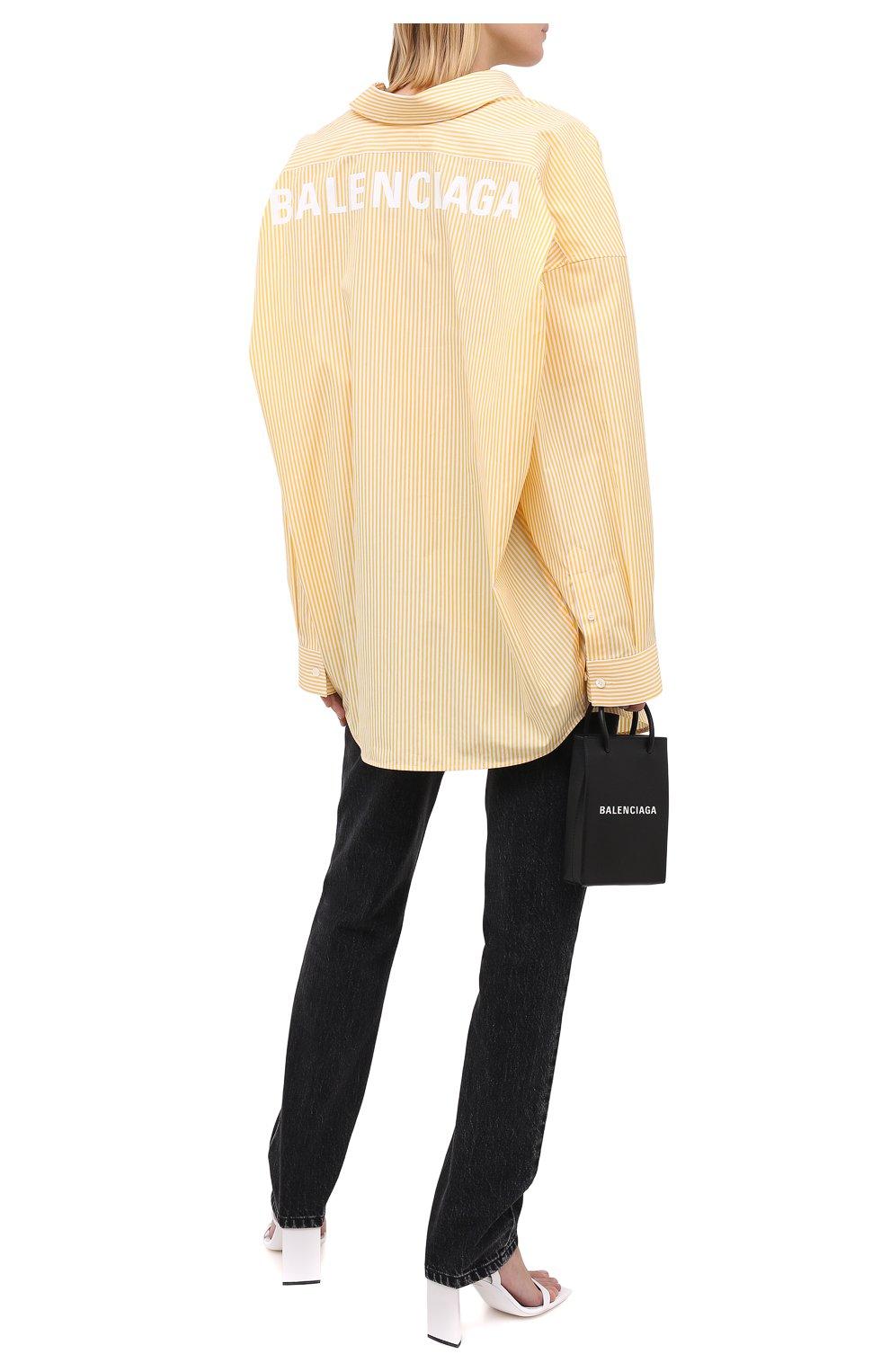 Женская хлопковая рубашка BALENCIAGA желтого цвета, арт. 622050/TYB19 | Фото 2
