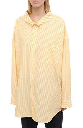 Женская хлопковая рубашка BALENCIAGA желтого цвета, арт. 622050/TYB19 | Фото 3