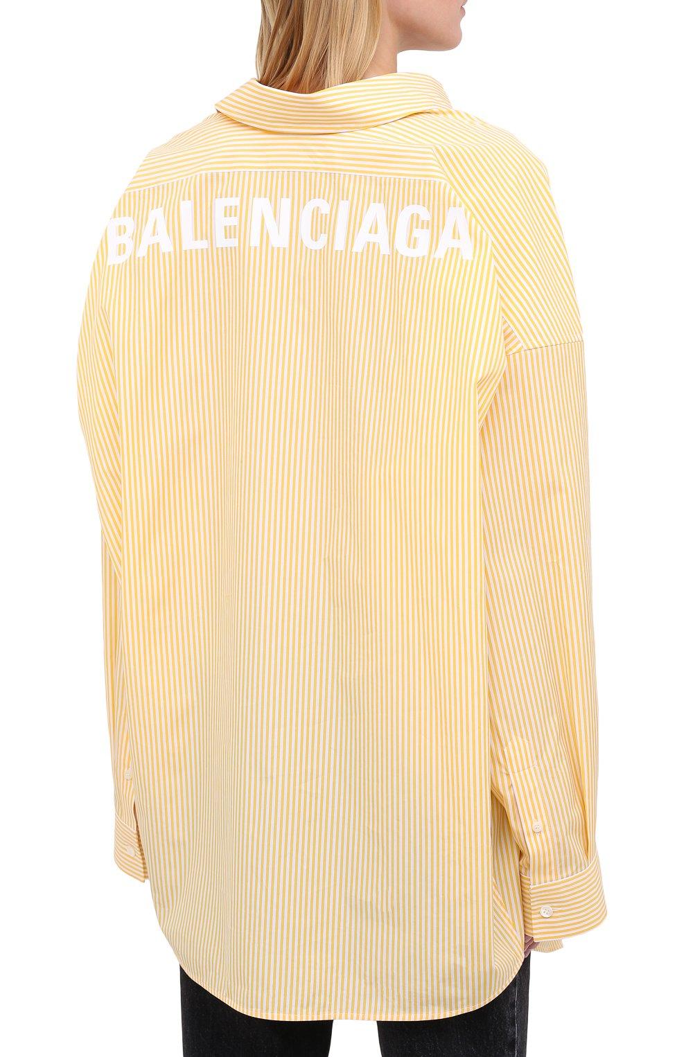 Женская хлопковая рубашка BALENCIAGA желтого цвета, арт. 622050/TYB19 | Фото 4