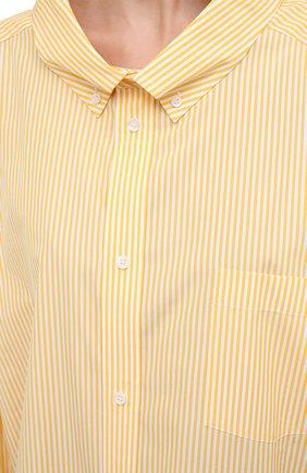 Женская хлопковая рубашка BALENCIAGA желтого цвета, арт. 622050/TYB19 | Фото 5