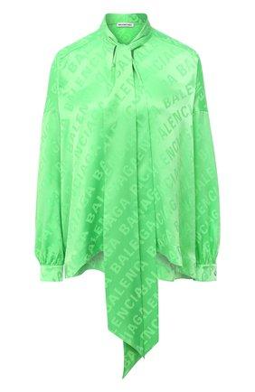 Женская шелковая блузка BALENCIAGA зеленого цвета, арт. 595072/TIN05   Фото 1