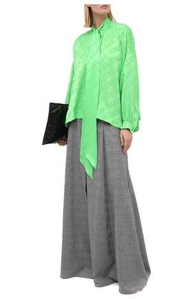 Женская шелковая блузка BALENCIAGA зеленого цвета, арт. 595072/TIN05   Фото 2