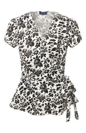 Женская льняная блузка POLO RALPH LAUREN черно-белого цвета, арт. 211803130 | Фото 1