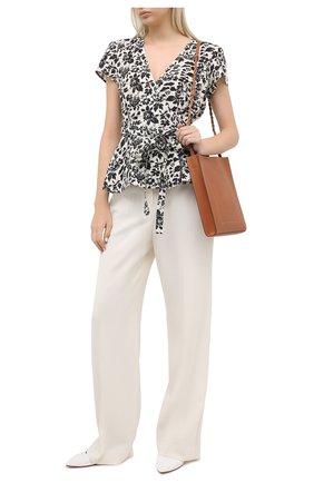 Женская льняная блузка POLO RALPH LAUREN черно-белого цвета, арт. 211803130 | Фото 2