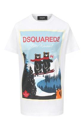 Женская хлопковая футболка DSQUARED2 белого цвета, арт. S75GD0107/S23009 | Фото 1