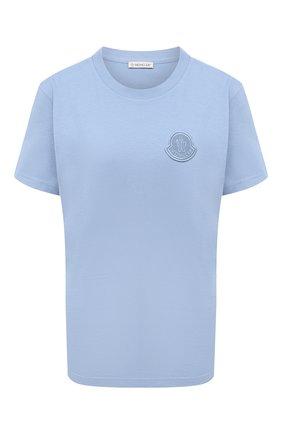 Женская хлопковая футболка MONCLER голубого цвета, арт. F2-093-8C759-00-V8161 | Фото 1