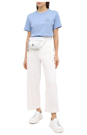 Женская хлопковая футболка MONCLER голубого цвета, арт. F2-093-8C759-00-V8161 | Фото 2