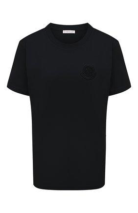 Женская хлопковая футболка MONCLER черного цвета, арт. F2-093-8C759-00-V8161 | Фото 1