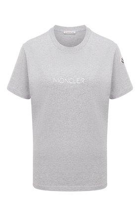 Женская хлопковая футболка MONCLER серого цвета, арт. F2-093-8C765-10-V8161 | Фото 1