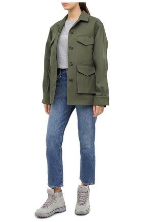 Женская хлопковая футболка MONCLER серого цвета, арт. F2-093-8C765-10-V8161 | Фото 2
