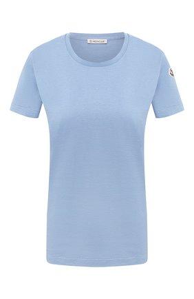 Женская хлопковая футболка MONCLER голубого цвета, арт. F2-093-8C732-00-V8058 | Фото 1
