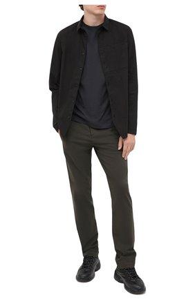Мужская хлопковый лонгслив TRANSIT темно-серого цвета, арт. CFUTRM1360   Фото 2