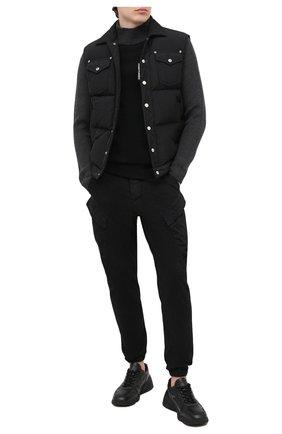 Мужской хлопковые джоггеры TRANSIT черного цвета, арт. CFUTRMF153   Фото 2