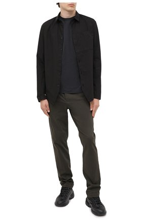 Мужская хлопковая рубашка TRANSIT черного цвета, арт. CFUTRMV310   Фото 2