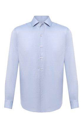 Мужская шелковая рубашка LORO PIANA голубого цвета, арт. FAL3183 | Фото 1