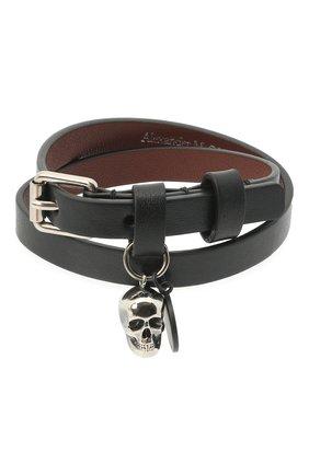 Мужской кожаный браслет ALEXANDER MCQUEEN черного цвета, арт. 554466/1NT0K | Фото 1