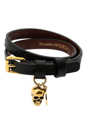 Мужской кожаный браслет ALEXANDER MCQUEEN черного цвета, арт. 554466/CQE3G | Фото 1