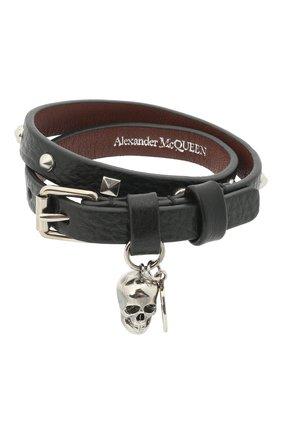 Мужской кожаный браслет ALEXANDER MCQUEEN черного цвета, арт. 554466/1ACWY | Фото 1
