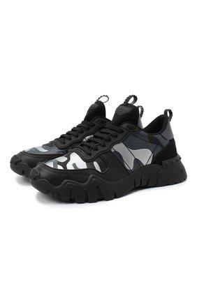 Мужские комбинированные кроссовки valentino garavani rockrunner plus VALENTINO черного цвета, арт. UY2S0C88/MHB | Фото 1