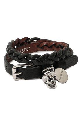 Мужской кожаный браслет ALEXANDER MCQUEEN черного цвета, арт. 554466/1ACRY | Фото 1