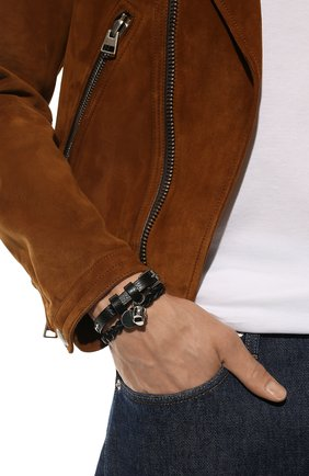 Мужской кожаный браслет ALEXANDER MCQUEEN черного цвета, арт. 554466/1ACRY | Фото 2
