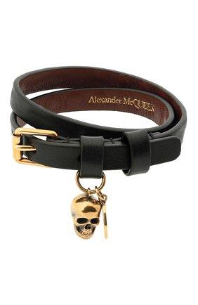 Мужской кожаный браслет ALEXANDER MCQUEEN черного цвета, арт. 554466/CQE0G | Фото 1