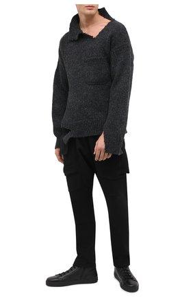 Мужские кожаные кеды MORESCHI черного цвета, арт. 43182/CQ/CERV0/F.PELLICCIA | Фото 2