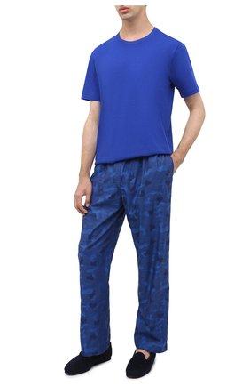 Мужские хлопковая футболка HANRO синего цвета, арт. 075050   Фото 2