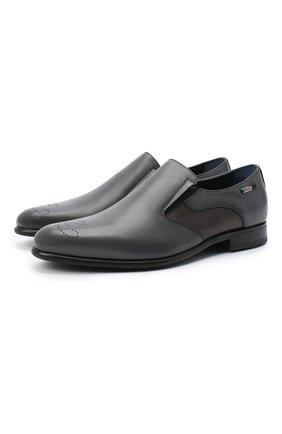 Мужские кожаные лоферы ZILLI серого цвета, арт. MDU-B074/001 | Фото 1