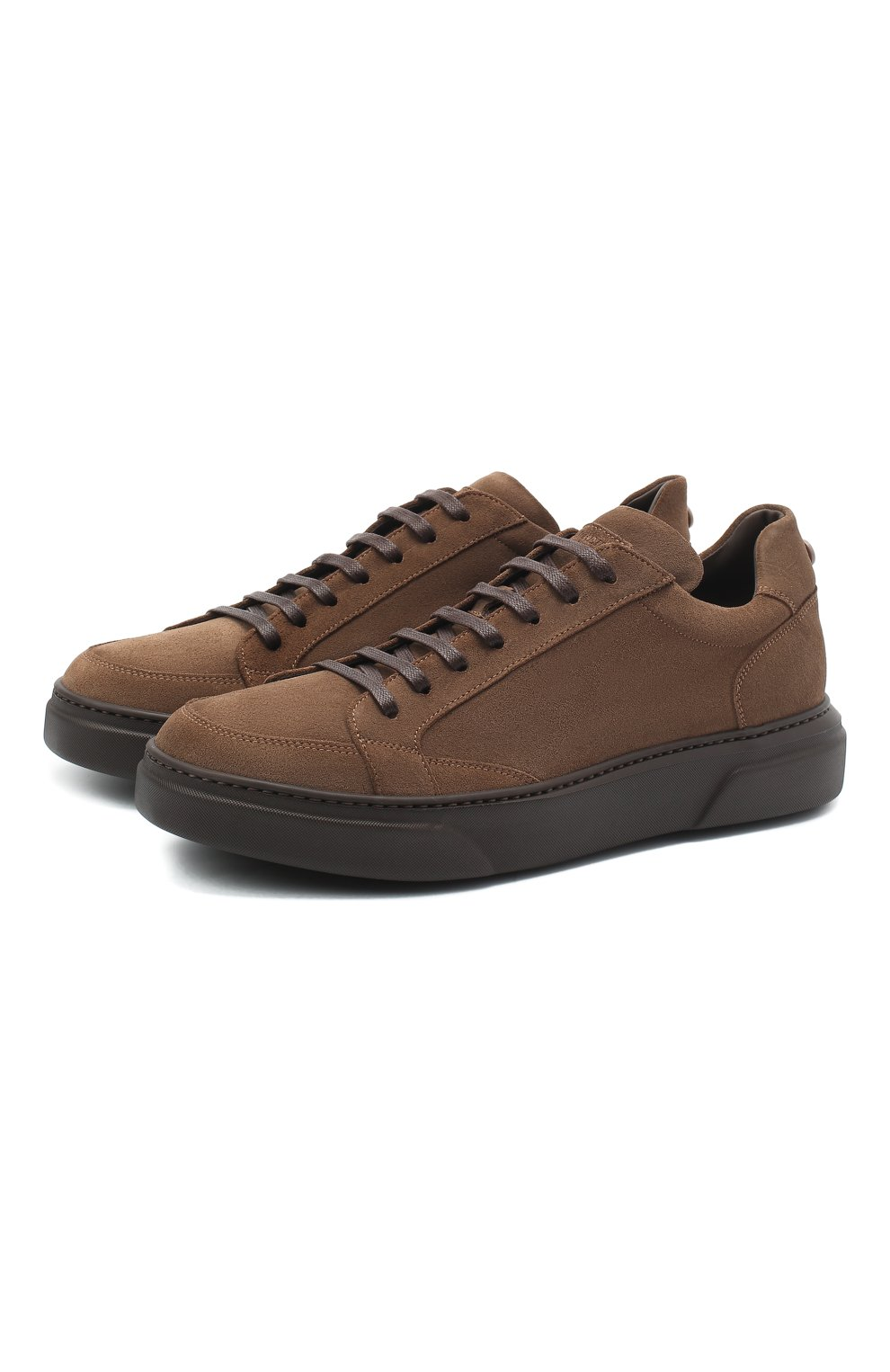 Мужские замшевые кеды BARRETT коричневого цвета, арт. PHAN-10993.10/REPELL0 0IL   Фото 1