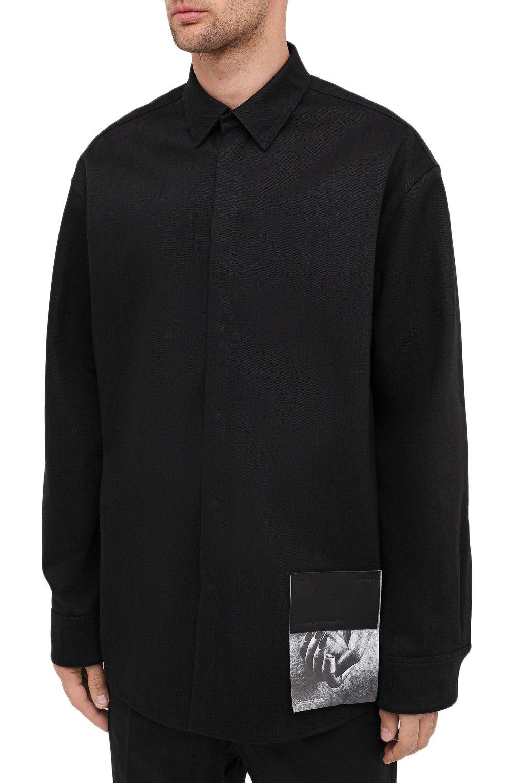 Мужская хлопковая рубашка OAMC черного цвета, арт. 0AMR603386 0R241900 | Фото 4