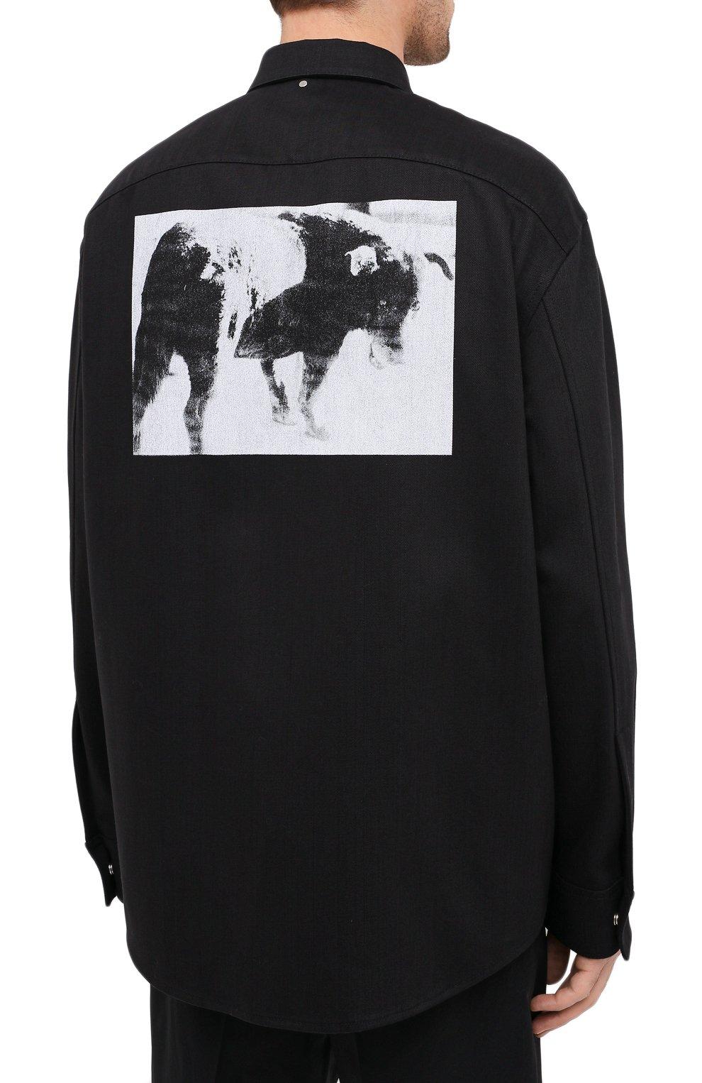 Мужская хлопковая рубашка OAMC черного цвета, арт. 0AMR603386 0R241900 | Фото 5