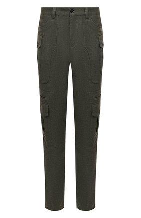 Мужские шерстяные брюки-карго BRUNELLO CUCINELLI хаки цвета, арт. ME226S1970 | Фото 1