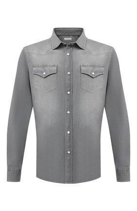 Мужская джинсовая рубашка BRUNELLO CUCINELLI серого цвета, арт. ML6304078 | Фото 1