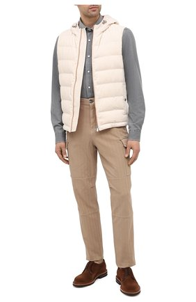 Мужская джинсовая рубашка BRUNELLO CUCINELLI серого цвета, арт. ML6304078 | Фото 2