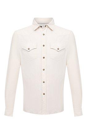 Мужская хлопковая рубашка BRUNELLO CUCINELLI белого цвета, арт. ML6884078 | Фото 1