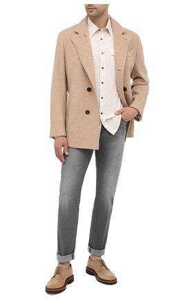 Мужская хлопковая рубашка BRUNELLO CUCINELLI белого цвета, арт. ML6884078 | Фото 2