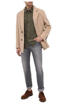 Мужская хлопковая рубашка BRUNELLO CUCINELLI хаки цвета, арт. ML6884078 | Фото 2