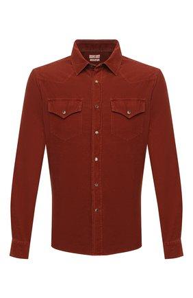 Мужская хлопковая рубашка BRUNELLO CUCINELLI красного цвета, арт. ML6884078 | Фото 1