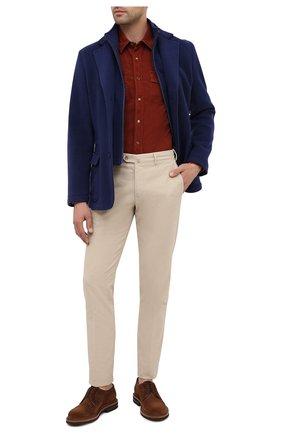 Мужская хлопковая рубашка BRUNELLO CUCINELLI красного цвета, арт. ML6884078 | Фото 2