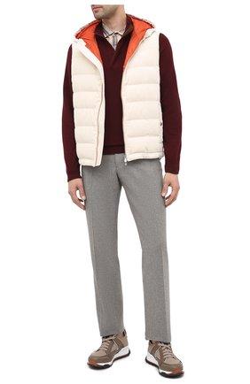 Мужская хлопковая рубашка BRUNELLO CUCINELLI бежевого цвета, арт. MN6953029 | Фото 2