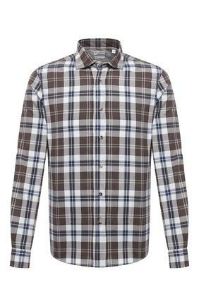 Мужская хлопковая рубашка BRUNELLO CUCINELLI коричневого цвета, арт. MN6953029 | Фото 1