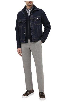 Мужская хлопковая рубашка BRUNELLO CUCINELLI коричневого цвета, арт. MN6953029 | Фото 2