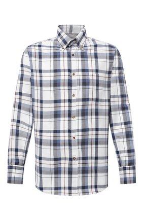 Мужская хлопковая рубашка BRUNELLO CUCINELLI синего цвета, арт. MN6960068 | Фото 1