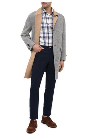 Мужская хлопковая рубашка BRUNELLO CUCINELLI синего цвета, арт. MN6960068 | Фото 2