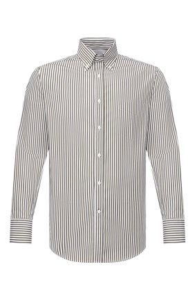 Мужская хлопковая рубашка BRUNELLO CUCINELLI хаки цвета, арт. MR6720068 | Фото 1