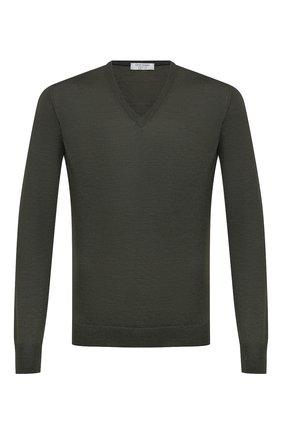 Мужской пуловер из шерсти и шелка GRAN SASSO темно-зеленого цвета, арт. 57115/13190 | Фото 1