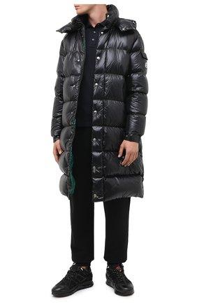 Мужская пуховик agot MONCLER черного цвета, арт. F2-091-1D507-00-C0081 | Фото 2 (Рукава: Длинные; Материал внешний: Синтетический материал; Материал подклада: Синтетический материал; Длина (верхняя одежда): До колена; Мужское Кросс-КТ: Пуховик-верхняя одежда, Верхняя одежда, пуховик-длинный; Стили: Кэжуэл; Кросс-КТ: Пуховик, Куртка)